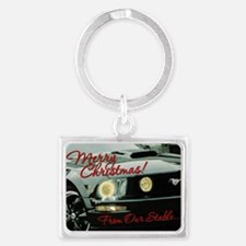 Xmas-merry-outMustang2 Landscape Keychain