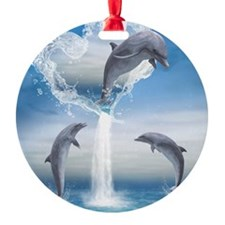 dolphins_ipad_sleev_h_f Round Ornament