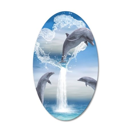 dolphins_ipad 35x21 Oval Wall Decal