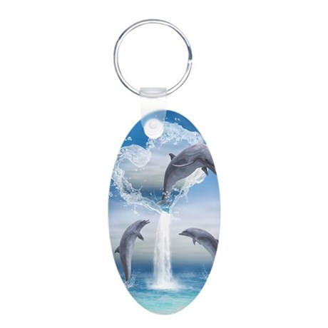 dolphins_iphone_3g_case Aluminum Oval Keychain