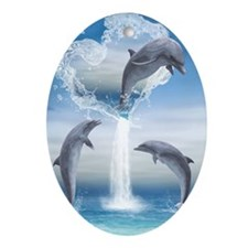 dolphins_iTouch4_Generic_Case Oval Ornament