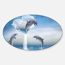 dolphins_laptop_skin Sticker (Oval)