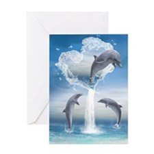 dolphins_6x4_pcard Greeting Card