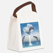 dolphins_calendar_print Canvas Lunch Bag