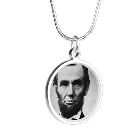 abe lincoln puzzle Silver Round Necklace