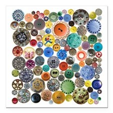 """Buttons in Square Square Car Magnet 3"""" x 3"""""""