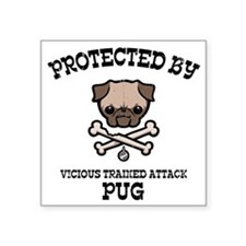 """pug-protected-LTT Square Sticker 3"""" x 3"""""""