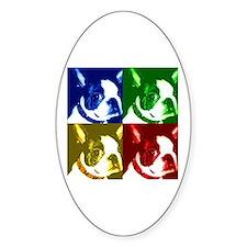 Pop Art Boston Terrier Oval Decal