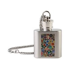 Buttons 7.5 x 10.8 Flask Necklace