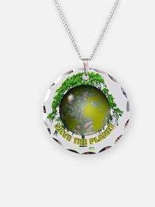 tshirt_whiteback_savetheplan Necklace Circle Charm