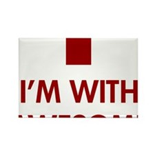 im-with-awesome-(red-text) Rectangle Magnet