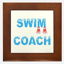 Swim Coach Blue Framed Tile