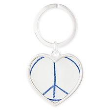 Peace and Love Heart Keychain