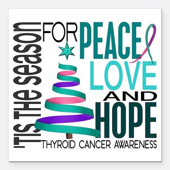 "D Thyroid Cancer Square Car Magnet 3"" x 3"""