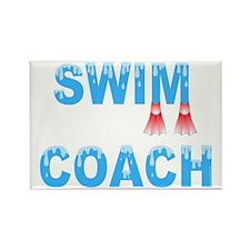 Swim Coach Blue Rectangle Magnet