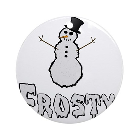 Frosty the Snowman Text Round Ornament
