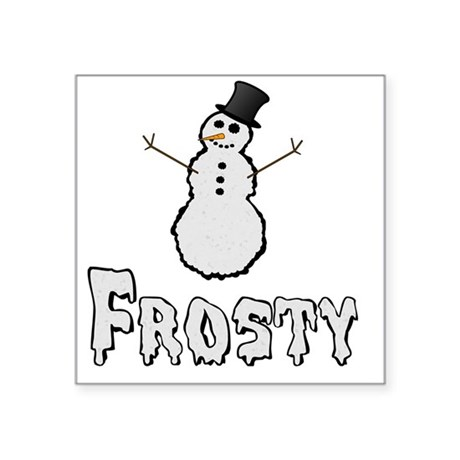 "Frosty the Snowman Text Square Sticker 3"" x 3"""