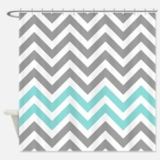 Grey and aqua chevrons pattern 1 Shower Curtain