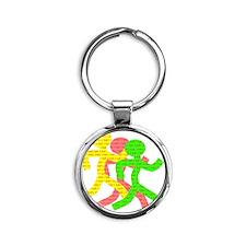 iRun_Figure_RedLetters_ThreeRunners Round Keychain