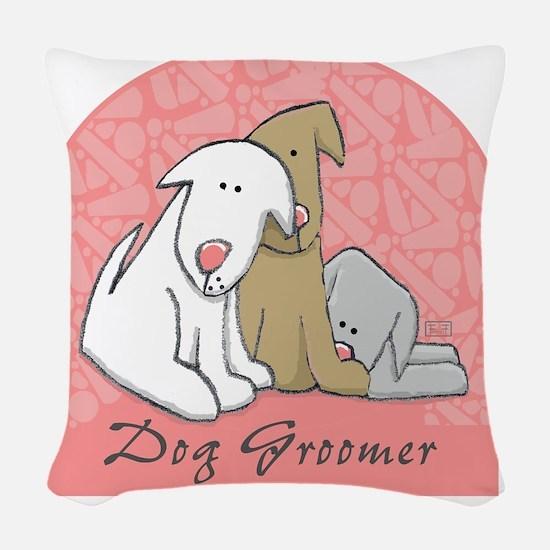 DOGwalkergroomerPINK Woven Throw Pillow