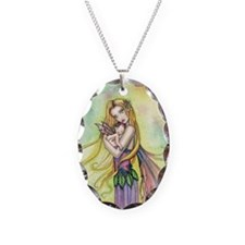 Mother and Baby Fairy Art by M Necklace