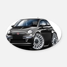 Fiat 500 Black Car Oval Car Magnet
