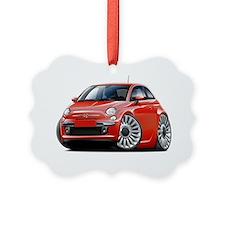 Fiat 500 Red Car Ornament
