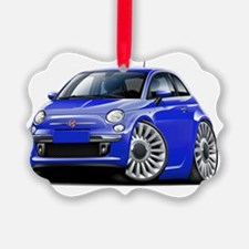 Fiat 500 Blue Car Ornament