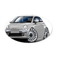 Fiat 500 Silver Car Oval Car Magnet