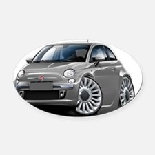 Fiat 500 Grey Car Oval Car Magnet