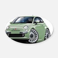 Fiat 500 Lt Green Car Oval Car Magnet