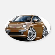 Fiat 500 Brown Car Oval Car Magnet