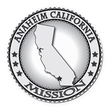 Anaheim California LDS Mission Round Car Magnet