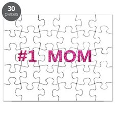 #1 Mom in hot pink Puzzle