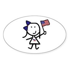 Girl & Democrat Oval Decal