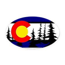 Colorado Trees2 Oval Car Magnet