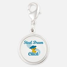 Steel Drum Chick #3 Silver Round Charm