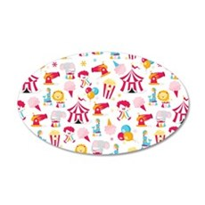 happy_circus_toiletry 35x21 Oval Wall Decal