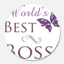 Butterfly_Boss Round Car Magnet