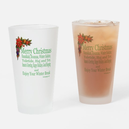 Merry_Christmas_PRETTY Drinking Glass