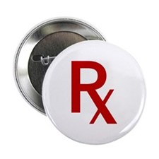 """Red Rx 2.25"""" Button"""
