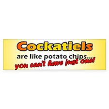 Potato Chips Cockatiel Bumper Car Sticker