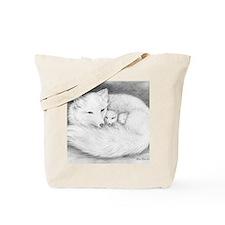 Hor-8x10-sign-Arctic Fox Family  Tote Bag