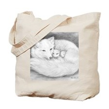 Hor-9.5x8-sign-Arctic Fox Family  Tote Bag