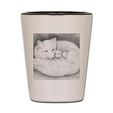 Hor-9.5x8-sign-Arctic Fox Family  Shot Glass