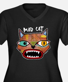 MadCatBlack Women's Plus Size Dark V-Neck T-Shirt