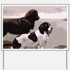 Newfoundland dogs beach print copy Yard Sign