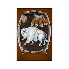 OvalJewel  White Buffalo Shield b Rectangle Magnet
