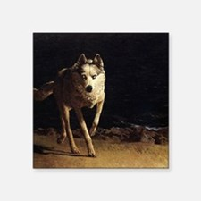 """wolf dog mens wallet copy Square Sticker 3"""" x 3"""""""