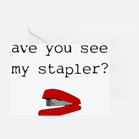 office-space-(stapler)-white-shirt Greeting Card